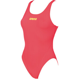 arena Solid Swim Tech High One Piece Swimsuit Dame fluo red-soft green